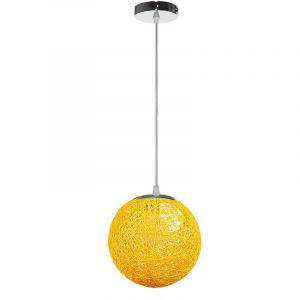 STOEX Rétro Suspension Luminaire en Rotin Globe Rond 20cm, Lustre Abat-jour DIY Lampe Plafond E27 pour Salon Restaurant Centre commercial Bar - Jaune