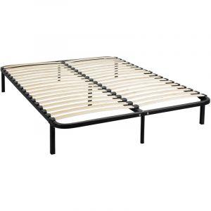 Sommier cadre à lattes métal en kit 140x190 - Noir - TERRE DE NUIT