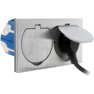 Double prise de sol 16A 2P+T finition alu brossé - IP55 avec boîte d'installation - SIMPLEA