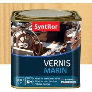 Vernis marin incolore Syntilor: brillant, mat ou satiné (mat - pot de 0,75 l) - Aspect - Conditionnement : Mat - Pot de 0,75 L