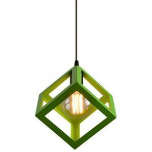 E27 Lustre Suspension industrielle Contemporain forme Cube Carré, Lampe de Plafond en Métal Fer Abat-Jour Luminaire, Vert - STOEX