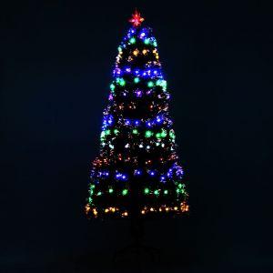 Sapin de Noël artificiel lumineux fibre optique + 220 LED 6 couleurs 2 modes support pied inclus Ø 80 x 180H cm 220 branches étoile sommet brillante vert - HOMCOM