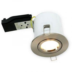 Support spot orientable Acier Brossé BBC RT2012 + douille automatique GU10 - ARUM LIGHTING