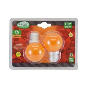 LOT de 2 ampoules 1W LED (éq 9W) Culot B22 - ORANGE - Angle 240° - VISION-EL