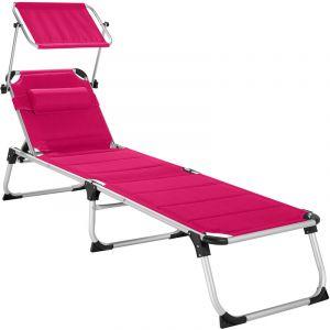 Transat LORELLA - chaise longue de jardin, bain de soleil, transat de plage - rose vif - TECTAKE