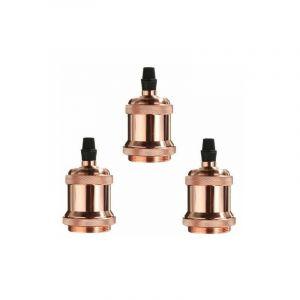 Lot de 3 Edison Douille E27 Spirale DIY Adaptateur de Lampe Vintage Rétro pour Lustre Suspension, Rose doré - STOEX