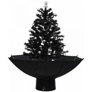 Arbre de Noël neigeux avec base de parapluie Noir 75 cm PVC - VIDAXL