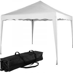 ® Structure de tonnelle pliante 3x3m acier , couleur blanc, avec sac de transport à roulettes - Instent