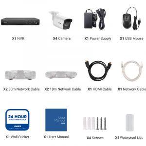 SANNCE 4 Pack 100 pieds vidéo Pré-fait Câbles d'alimentation All-in-One Câbles d'extension de caméra de sécurité pour CCTV DVR Home Surveillance System Noir