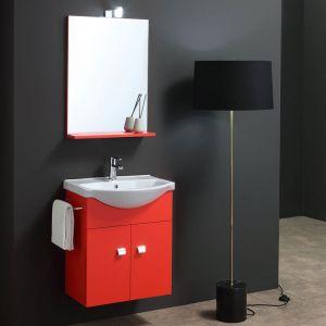 Meuble Lavabo Simply 56 Cm Rouge Mat Avec Miroir Et Applique - KIAMAMI VALENTINA