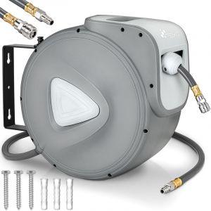 TRESKO® Enrouleur automatique de Tuyau à air comprimé 15m   Connexion 1/4'   Dévidoir Tuyau Automatique Mural