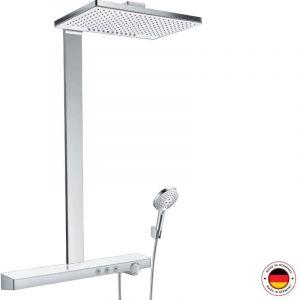 Hansgrohe Rainmaker Select Showerpipe 460 2jet EcoSmart avec thermostat, montage apparent, 3 consommateurs, blanc/chrome - 27028400