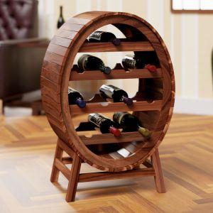 Casier étagère à vin jusque 12 bouteilles look baril tonneau en bois d'acacia - DEUBA