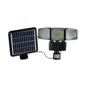 Projecteur solaire 3 têtes noir eclairage puissant panneau solaire déporté LED blanc BLACKBURN H23cm avec détecteur de mouvement orientable - LUMI JARDIN