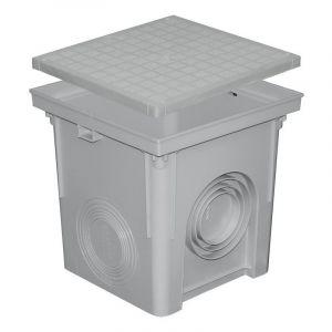 Regard PP 300x300 + couvercle raccordement eau pluviale gris - FIRST