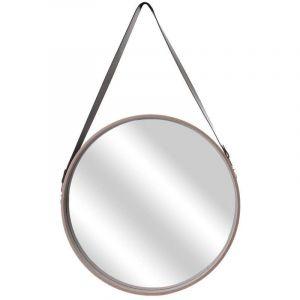 Miroir rond avec anse imitation cuir Barber 50 cm - Beige - THE HOME DECO FACTORY
