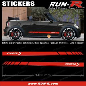 2 stickers MINI COOPERS S 140 cm - ROUGE lettres BLANCHES - Run-R Stickers