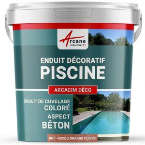 ENDUIT DE CUVELAGE PISCINE FINITION BETON CIRE - ARCACIM DECO - ARCANE INDUSTRIES - Rocou - orange cuivre - kit de 8 m²