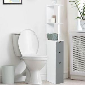 meuble wc tagre bois 3 portes blanc et gris gain de place pour toilettes idmarket