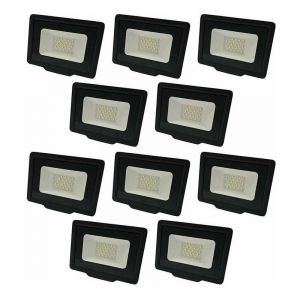 Lot de 10 Projecteurs LED Noirs 20W (100W) Étanche IP65 1600lm - Blanc Chaud 2700K