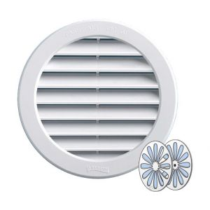 Grille ventilation PVC ronde + fermeture - Ext. Ø190mm - Tube 160mm - FIRST PLAST