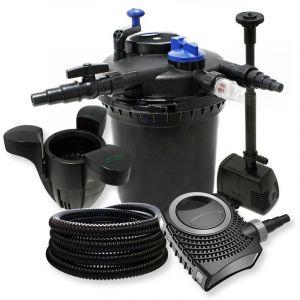 Kit de filtration à pression pour étang ou bassin pompe fontaine + skimmer / 30000L max UVC 18W - BIGB