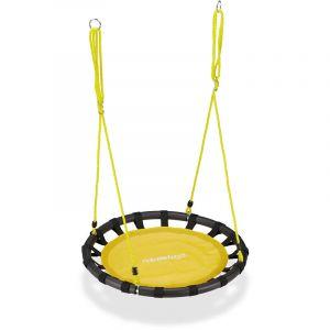 Balançoire nid d'oiseau rond 80 cm à suspendre panier enfant adulte jardin extérieur 100 kg , jaune - RELAXDAYS