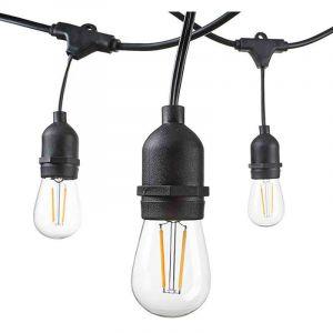 Guirlande Guinguette Noire Suspendue IP65 14,4m pour 15 Ampoules E27 - OPTONICA