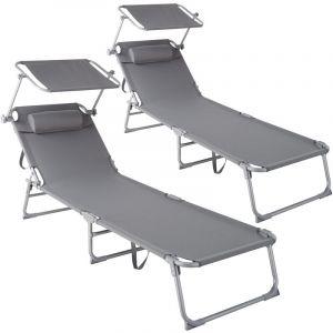 Lot de 2 transats CHLOE - lot de 2 chaises longues, bains de soleil, transats jardin - gris - TECTAKE