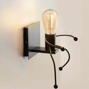 Applique Murales Lumière industrielle Créatif Lampes Intérieur rétro Iron Art déco E27 Base pour Bar, Chambre à Coucher, Cuisine, Restaurant, Café, Couloir,Noir - STOEX