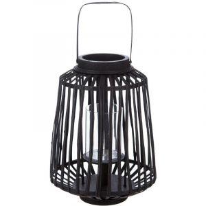 Atmosphera - Lanterne tressée noire en rotin H 35 cm