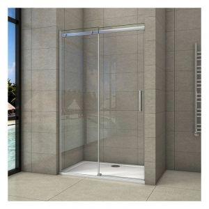 Porte de douche coulissante 150x195cm en 8mm verre anticalcaire porte de douche en niche - AICA SANITAIRE