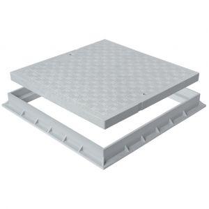 Tampon de sol PVC léger avec cadre anti-choc 200x200mm - 11,00KN - Gris - FIRST PLAST