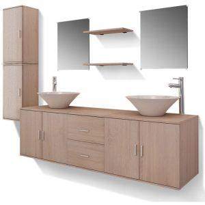 Meuble de salle de bain 11 pcs avec lavabo et robinet Beige - VIDAXL