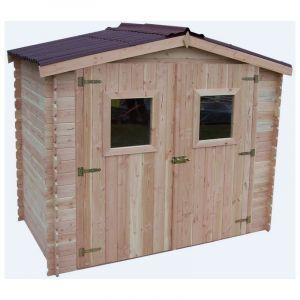Abri DALIA madriers 20 mm sans plancher toit double pente 5,32 m² - HABRITA