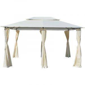 Tonnelle avec rideaux 4 x 3 m Blanc - VIDAXL