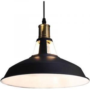 Suspension Vintage Industrielle Lampe de Plafonniers LED Retro Métal Lustre avec Abat-jour Luminaire E27 Eclairage de Plafond Noir - STOEX