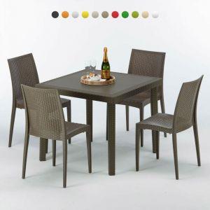 Table carrée et 4 chaises colorées Poly rotin resine 90x90 marron | Bistrot Marron Moka - GRAND SOLEIL