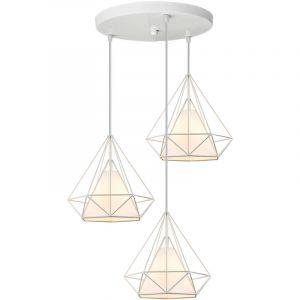 Lustre Suspension Cage en forme Diamant Industrielle,Lampe Plafonnier Corde Ajustable Luminaire Blanc pour Salle à Manger,Bar,Chambre - STOEX