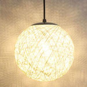 STOEX Blanc Rétro Suspension Luminaire en Rotin Globe Rond 15cm , Lustre Abat-jour DIY Lampe Plafond E27 pour Salon Restaurant Centre commercial Bar