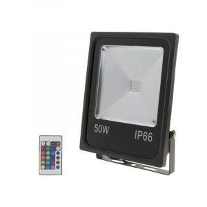 Projecteur LED RGB 50W Extérieur IP66 Plat NOIR - SILAMP