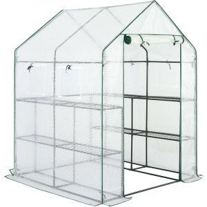 Serre de jardin avec bâche polyéthylène 195x143x143cm serre 2 m² 4 fenêtres - GARDEBRUK