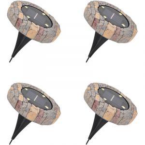 Lot de 4 Balises Solaires Extérieur - 4 LED - Bornes Ultra Plates - Effet Pierre - FISHTEC