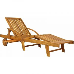 Chaise longue Tami Sun en bois d'acacia 200cm - transat bain de soleil - DEUBA