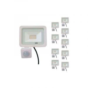Projecteur LED Extérieur 20W IP65 BLANC avec Détecteur de Mouvement Crépusculaire (Pack de 10) - Blanc Neutre 4000K - 5500K - SILAMP