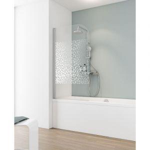 Schulte - Pare-baignoire rabattable, 80 x 140 cm, verre 5 mm, paroi de baignoire 1 volet, écran de baignoire pivotant, Capri Décor galets chromés, profilé aspect chromé