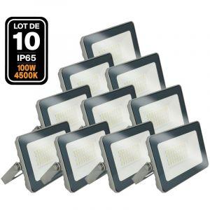 Lot de 10 Projecteurs LED 100W ProLine 4500K Haute Luminosité