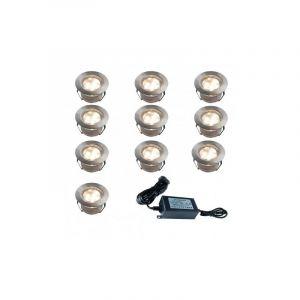 Set de 10 Spots Blanc Chaud (12V) à encastrer Ø45mm + Transformateur 30 W - SUD BOIS