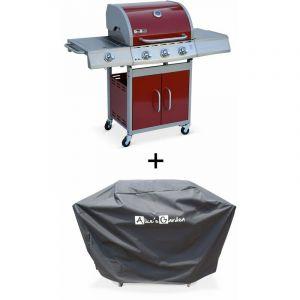 Barbecue gaz inox 14kW – Richelieu rouge – Barbecue 3 brûleurs + 1 feu latéral,grill et plancha, housse - ALICE'S GARDEN