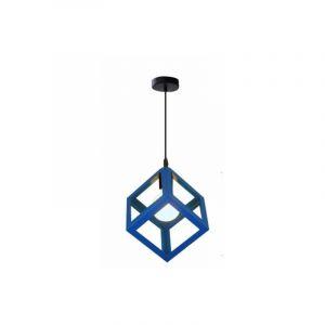Lustre Suspension Contemporain en Cage Cube fer Luminaire E27 Bleu - STOEX